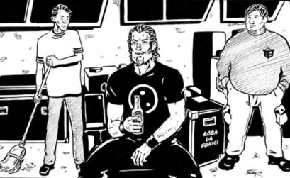 vignetta di un fonico e due aiutanti in magazzino