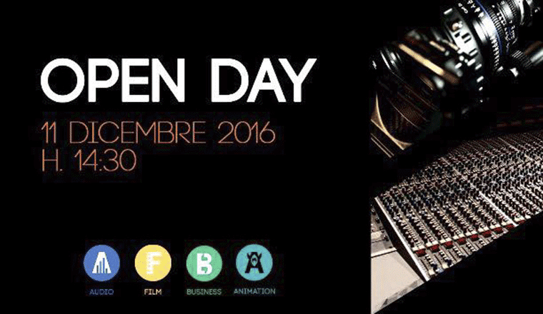 locandina nera dell'open day sae institute milano