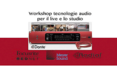 la locandina del workshop sui sistemi rednet di linear sound