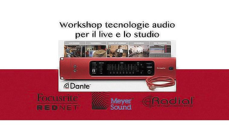 la locandina del workshop sui sistemi rednet di linear sound