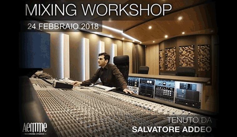 salvatore addeo alla console per il suo Mixing Workshop - Aemme Recording